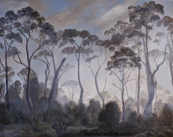 Tasmania landscape painting trees clouds fog oil original art