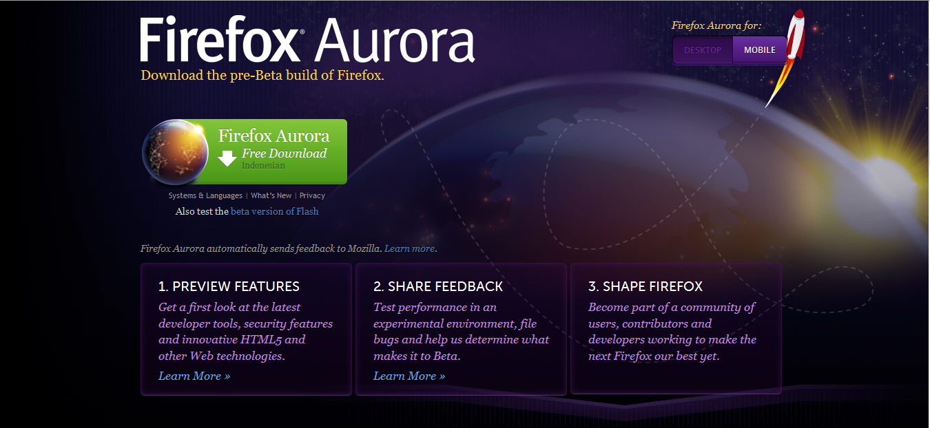 Mozilla Firefox Telah Meluncurkan Firefox Aurora Versi Terbaru Versi