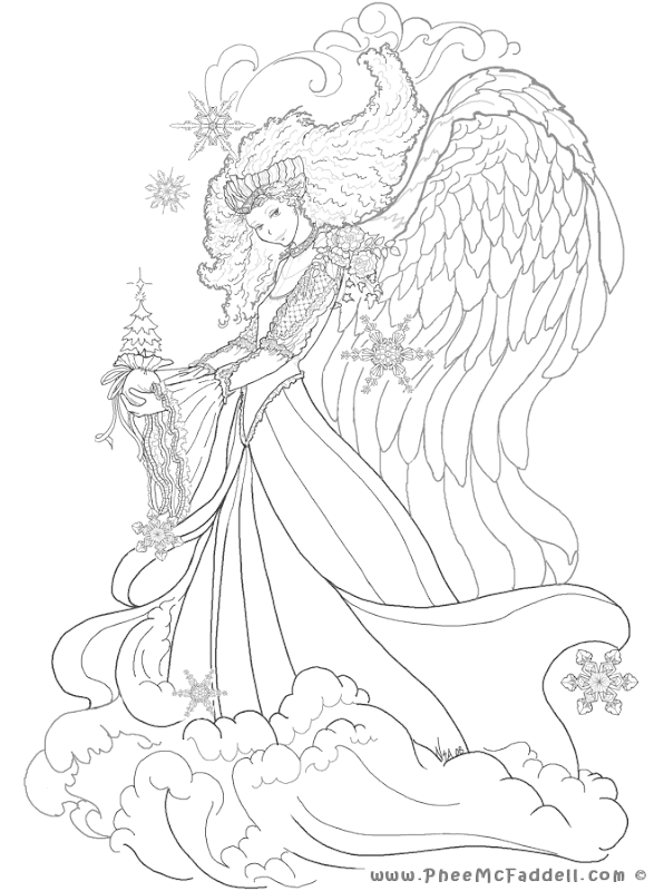 Free Fairy Fantasy Coloring Pages by Phee McFaddell title=