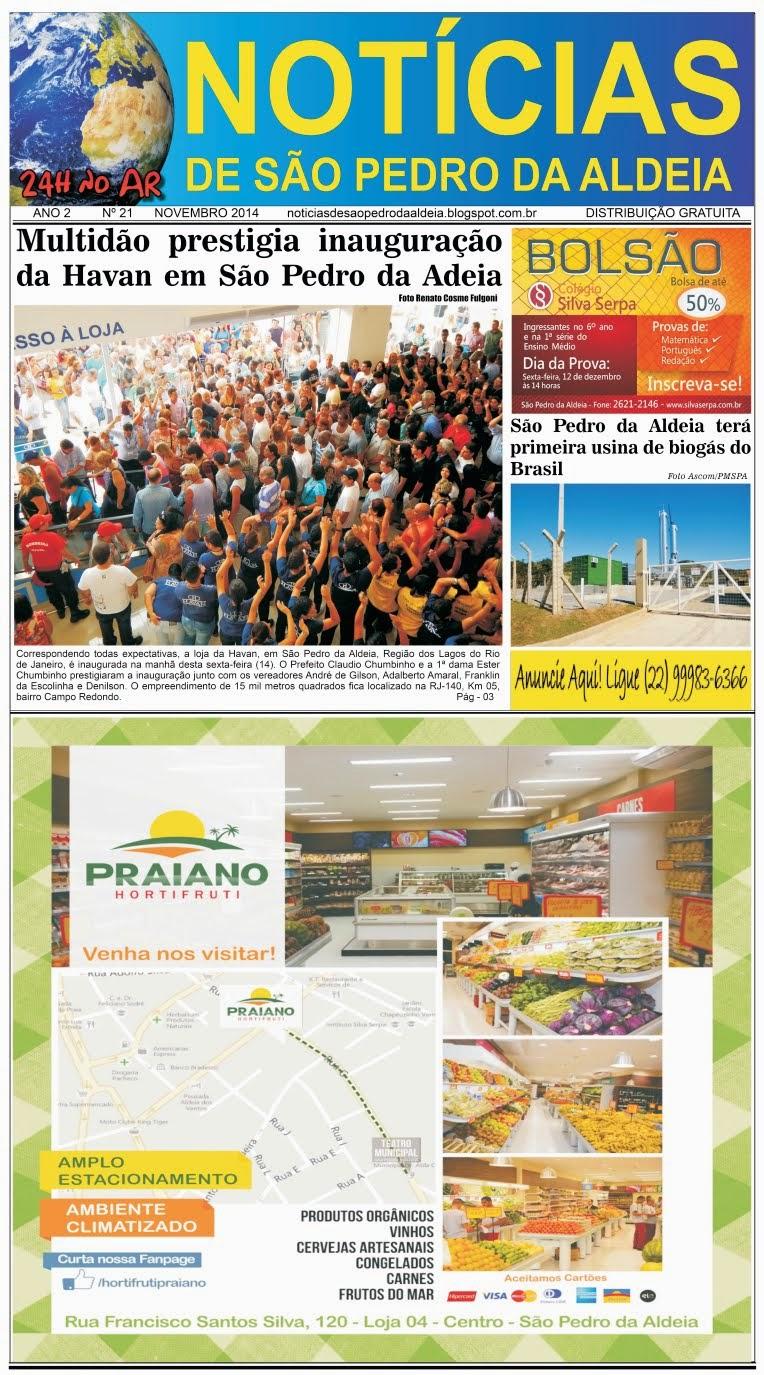 JORNAL NOTÍCIAS DE SÃO PEDRO DA ALDEIA EDIÇÃO DE NOVEMBRO 2014