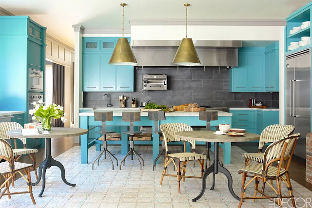 Bobby Flay celebrity turquoise kitchen grey backsplash pendant light