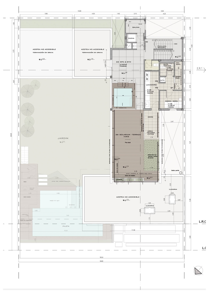 Second floor plan of Modern Villa Devoto by Andres Remy Architects