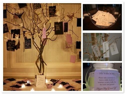 Papelitos colgados en un árbol en la recepción del casamiento