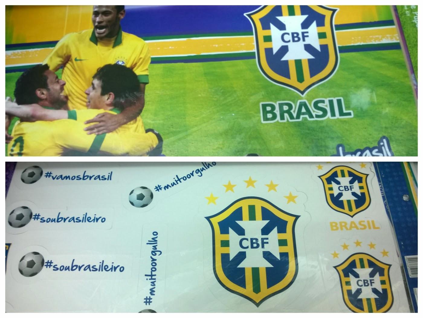 painel com mais de dez peças destacáveis com símbolo da CBF para Copa nas lojinhas 1,99