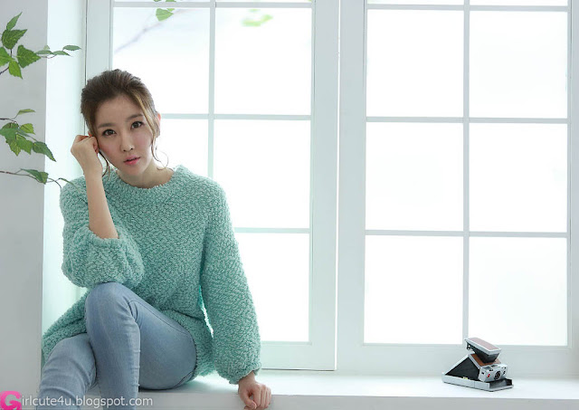 5 Choi Byeol Yee - Sweet Green Sweater-very cute asian girl-girlcute4u.blogspot.com