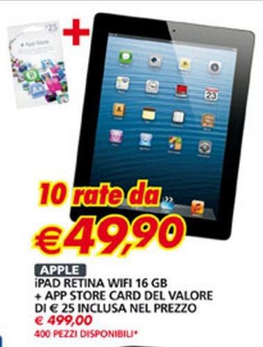 Auchan propone 400 tablet Apple iPad 4 a rate con tasso zero fino ai primi di febbraio 2013