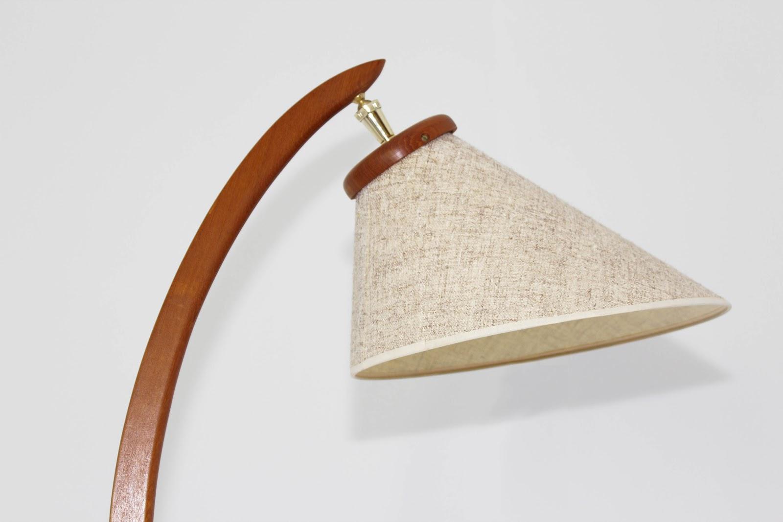 Mansion Decor Mid Century Danish Teak Bow Floor Lamp