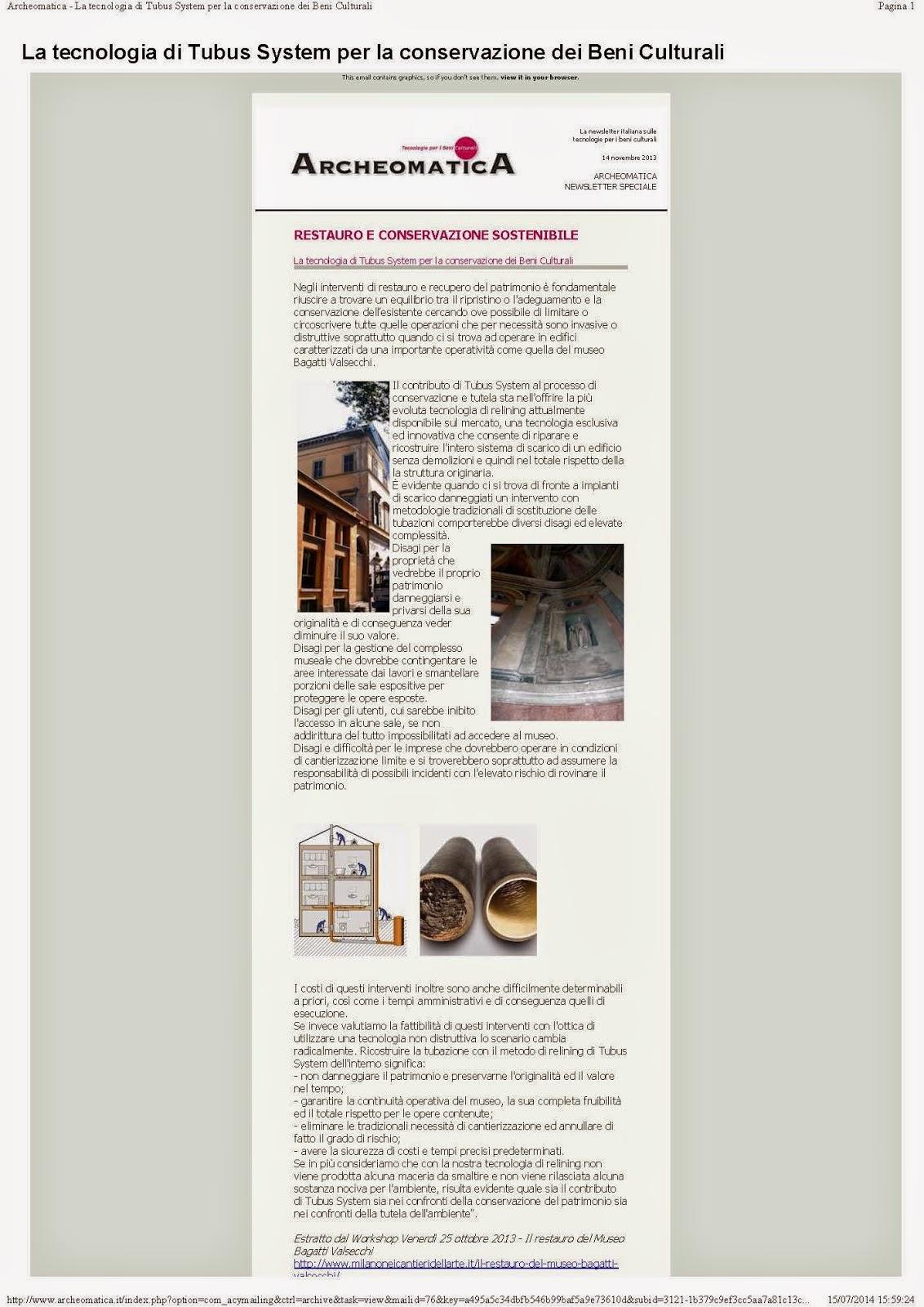 Archeomatica - Tubus System per la conservazione dei Beni Culturali