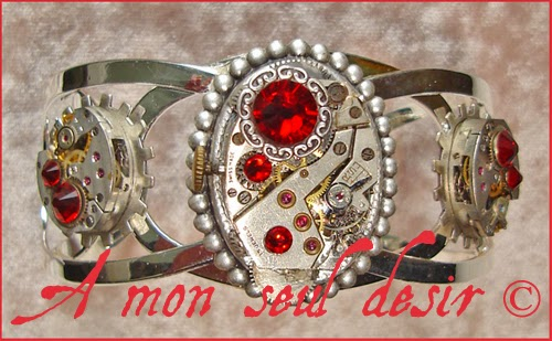Bracelet Steampunk mécanisme engrenage rouages argent mouvement de montre mécanique wheelwork clockwork jewelry