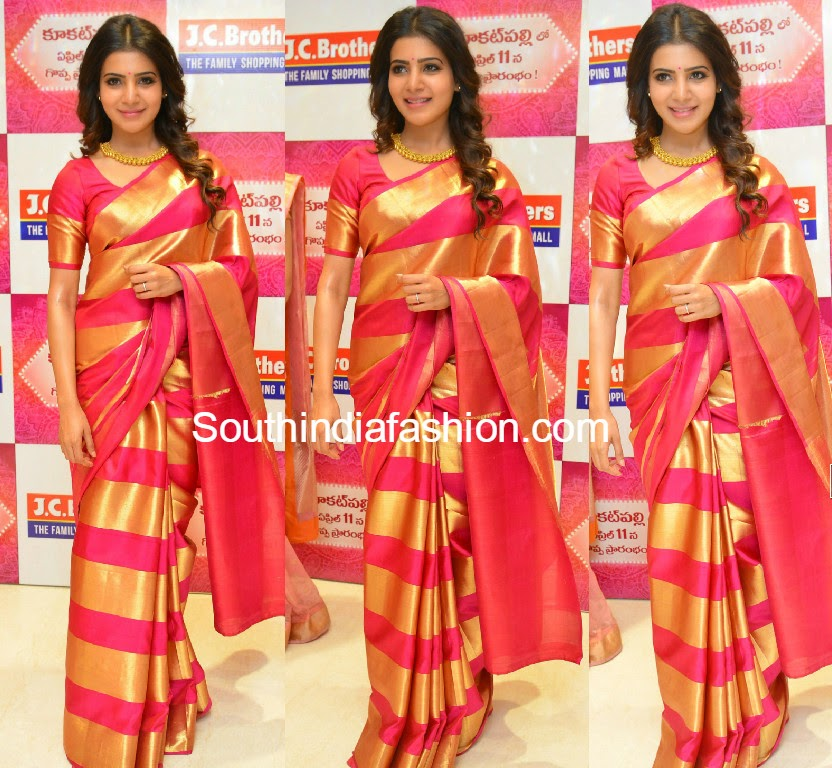 samantha in pattu saree at jc brothers launch