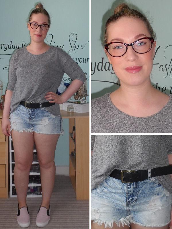 Grey Oversized Top; Denim Shorts; ASOS Skaters