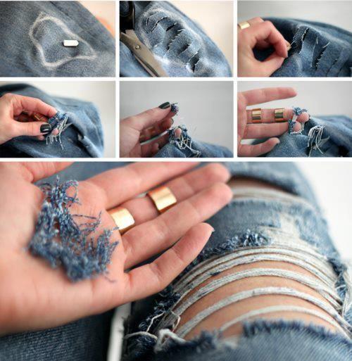 Tutorial diy calças rasgadas calças de ganga boygriend