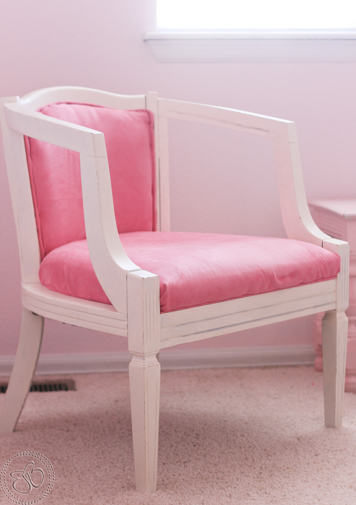 little bits of bliss pink chair redo