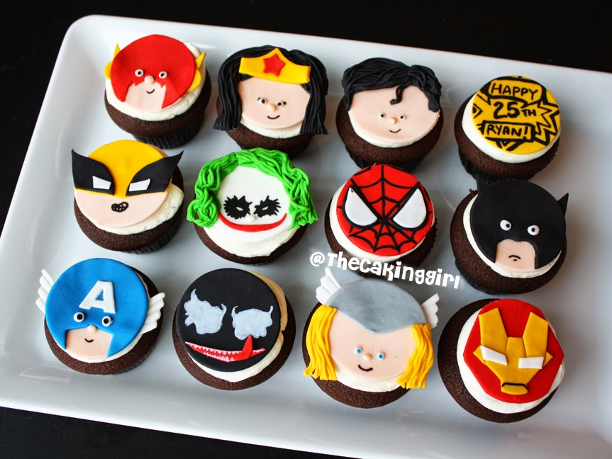 cute superhero cupcakes, batman cupcake, thor cupcake, spiderman cupcake