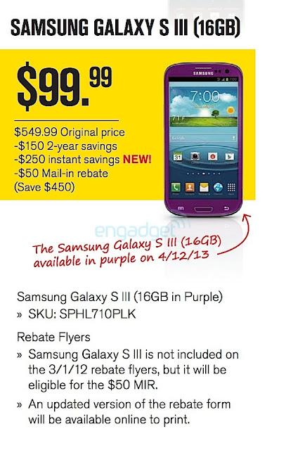 Purple Samsung Galaxy S III Rebate Flyer