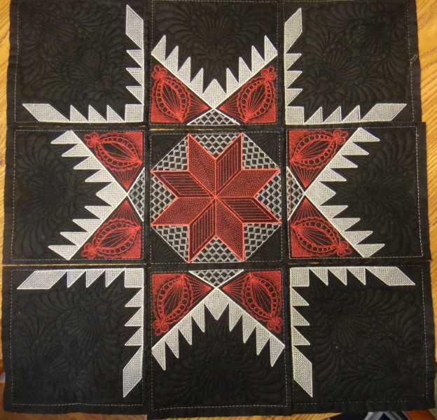 I Quilt Scarlet and Gray: Feathered Star Whole Cloth Wall Hanging ... : how to put a quilt together - Adamdwight.com