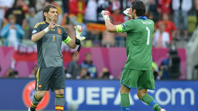 Euro 2012 Final - Spain vs Italy - Goalkeeper Captains - Casillas and Buffon