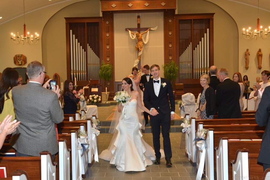 St. James Setauket - Bride and Groom walk up aisle