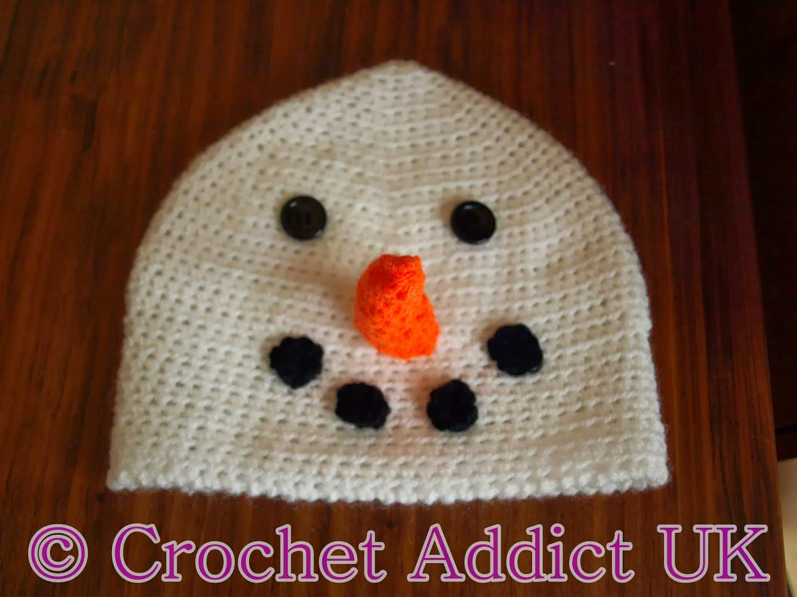 Snowman #Beanie #Hat 1 yr+ ~ #Free #Crochet #Pattern ~ Crochet Addict UK