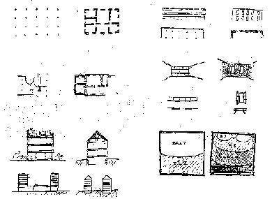 Le Corbusier Comparative sketches to show the advantages of the 'Five Points'
