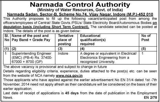 Narmada Control Authority Recruitment 2015 Deputation Vacancies