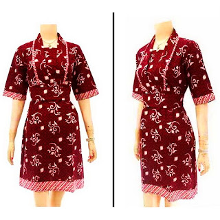 DB2961 Model Baju Dress Batik Modern Terbaru 2013
