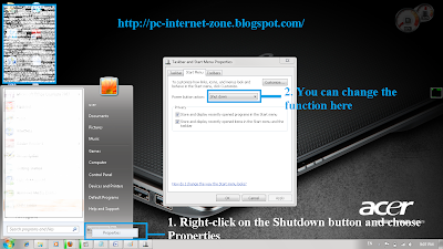 Windows 7 Tips and Tricks : Customize shutdown button pic1
