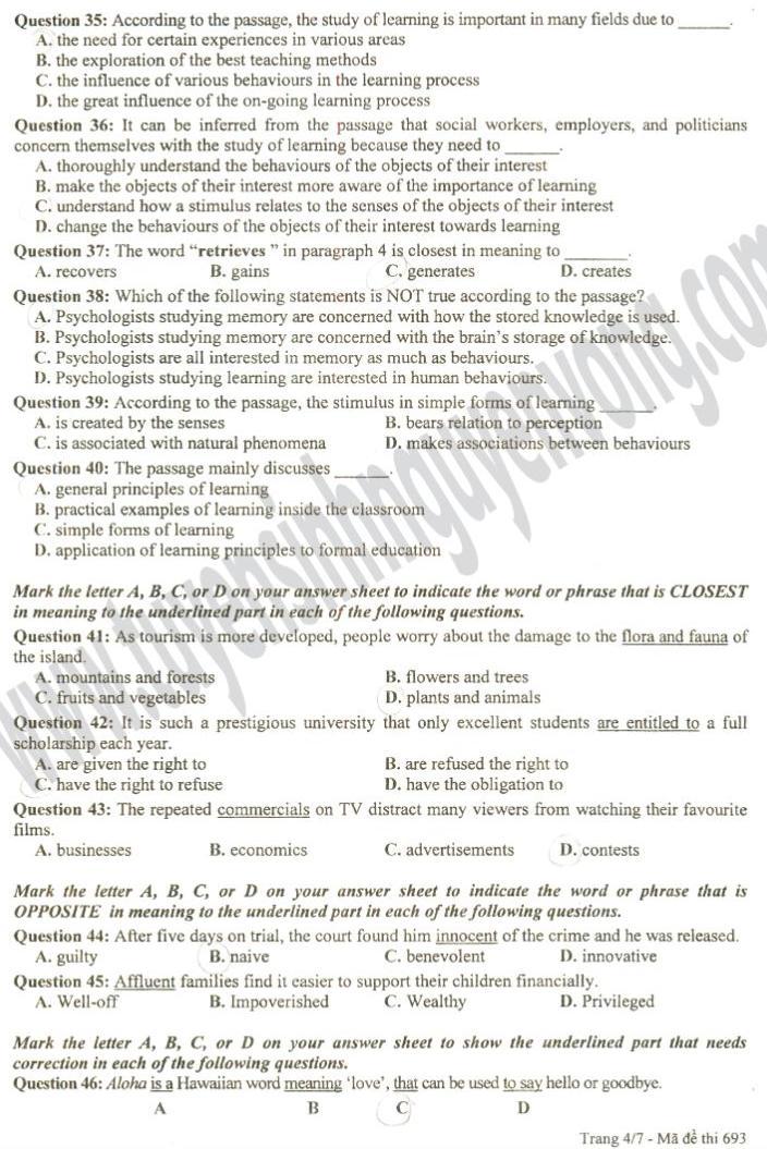 Đáp án đề thi đại học môn Tiếng Anh khối D năm 2012