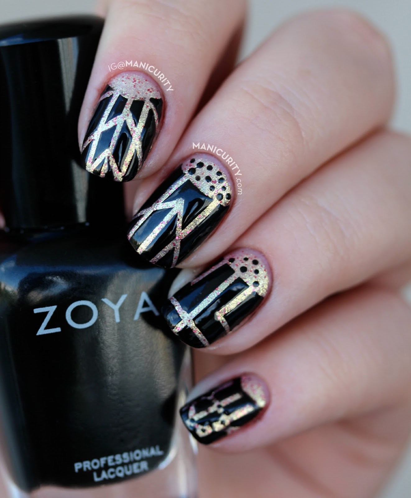 The Digit-al Dozen does Decades: Art Deco Striping Tape + Half Moon Mani with Zoya Raven and Julep Love | Manicurity.com