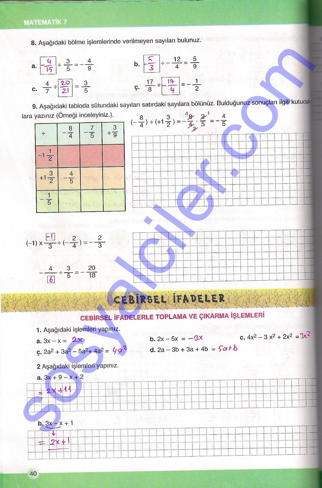 Semih Ofset Yayınları(SEK) 7.Sınıf Matematik Çalışma Kitabı