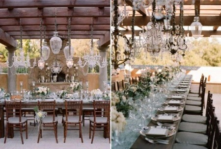Superb Numerous And Varied Crystal Chandeliers Dangle Above A Rustic Farmhouse  Table. A Trend In Outdoor Weddings, Crystal Chandeliers Sparkle In This  Rural ...