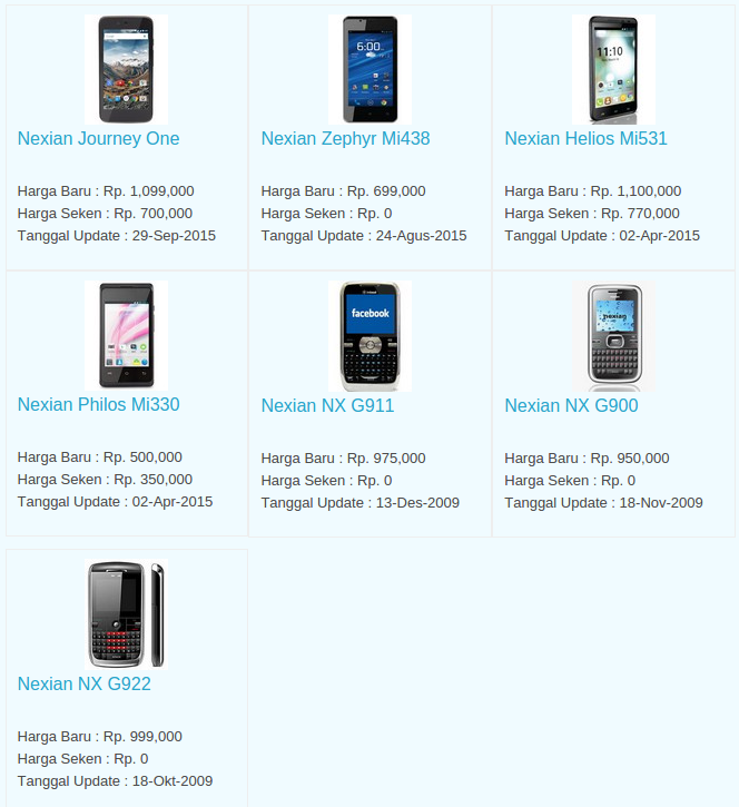 Daftar Terbaru Harga Hp Nexian Oktober 2015