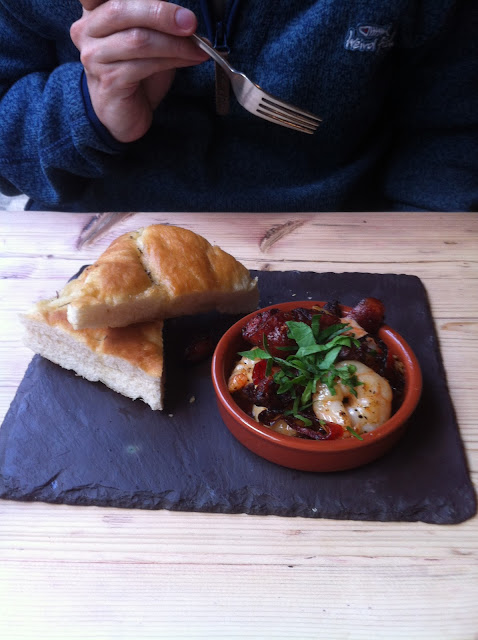 King prawns and chorizo with chili, garlic and rosemary focaccia