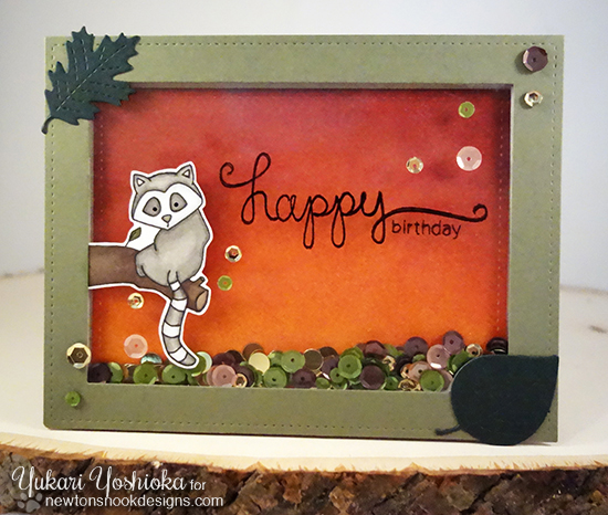 Happy Birthday Shaker Card with Lemur by Yukari Yoshioka | Simply Sentimental and Wild About Zoo Stamps by Newton's Nook Designs