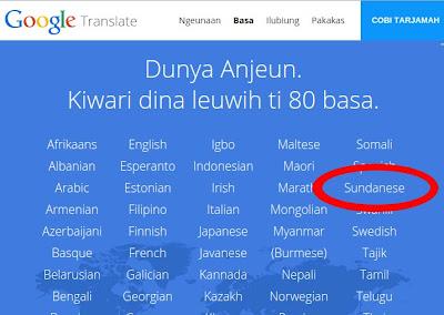 Google Translate Sunda Leuwih ti 80 Basa Dunya
