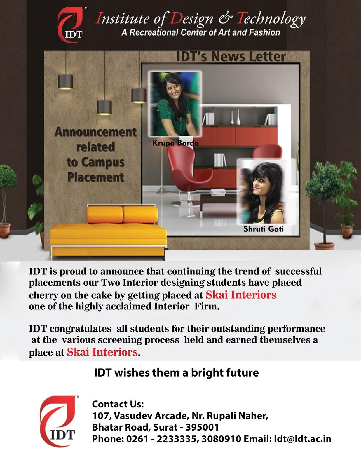 IDT Interior Design Student Placement