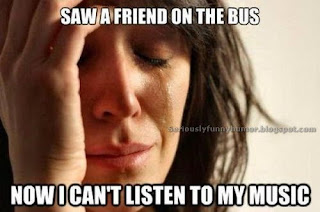 Girl crying funny meme - saw friend on the bus, can't listen to my music