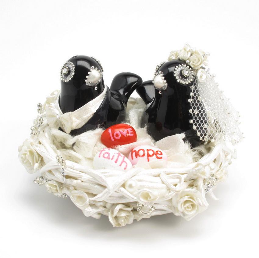 Skull Wedding Cake Toppers Love Birds 0005