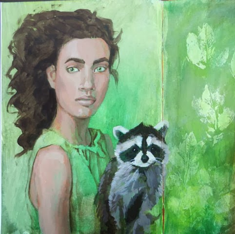 Unfinished acrylic painting of a woman and a raccoon