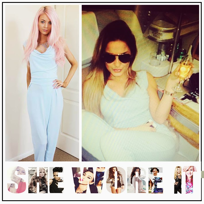 Sam Faiers, In Love With Fashion, Powder Pale Blue, Jersey, Stretch, Sleeveless, Jumpsuit, Cowl Neck, TOWIE,