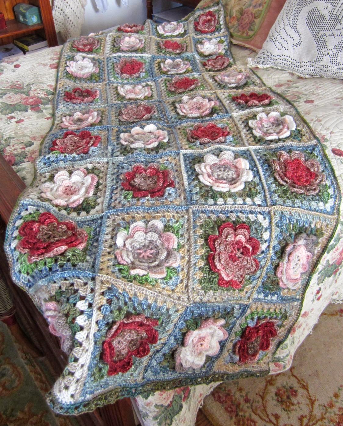 matin lumineux plaid aux fleurs en crochet. Black Bedroom Furniture Sets. Home Design Ideas