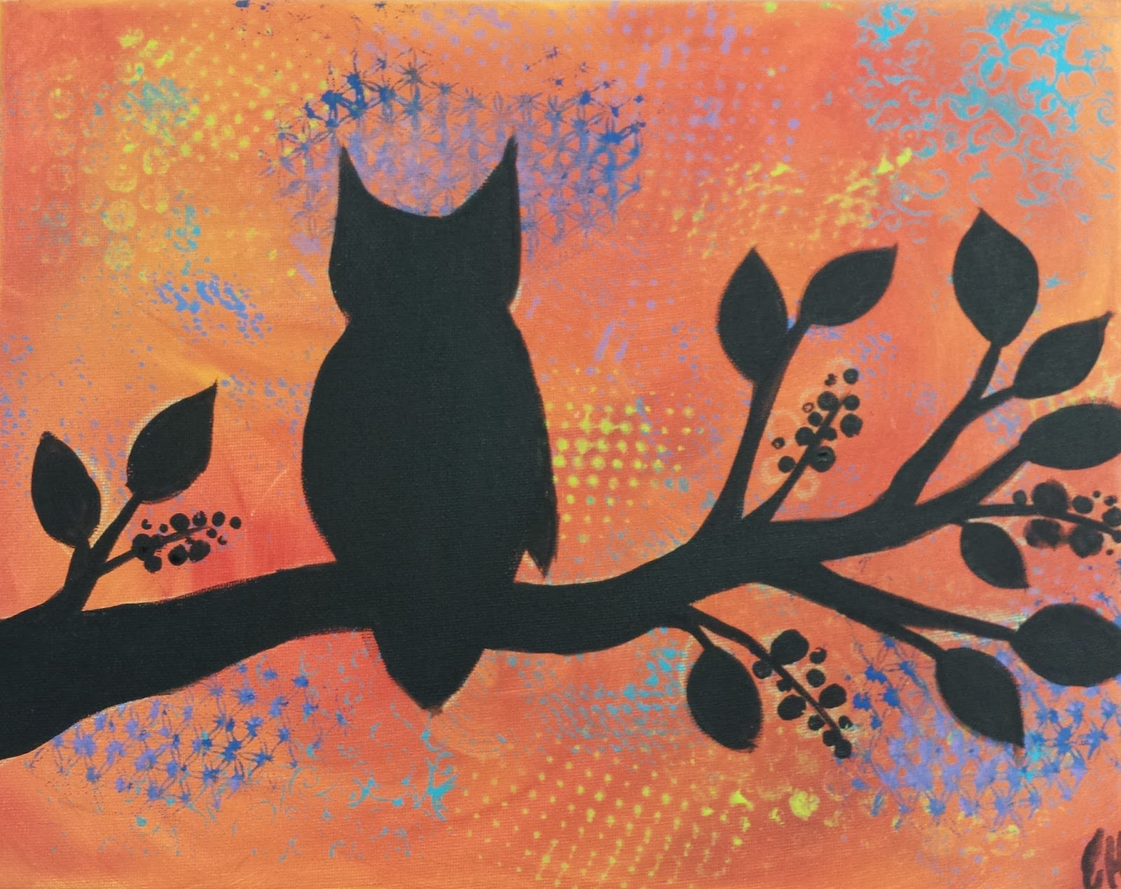 Angela Anderson Art Blog: Owl Silhouette Paintings - Kids Art Class