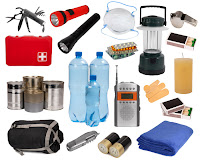 Various items for emergency supply kit, including food & water