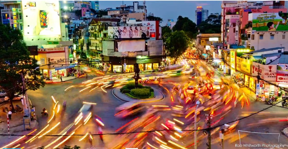 Tráfico en Vietnam, time lapse, Rob Whitworth