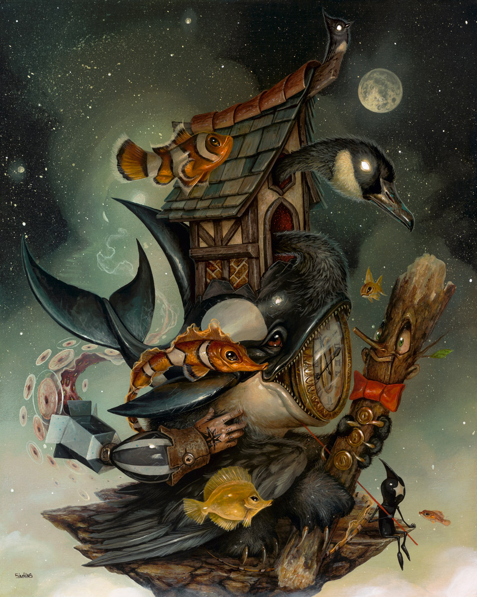 09-Time-Will-Tell-Greg-Craola-Simkins-Fantastical-Surreal-Paintings-Full-of-Details