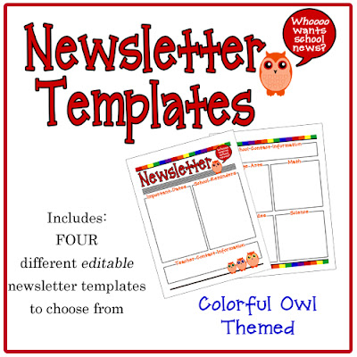This little teacher colorful owl newsletter templates for Free editable newsletter templates for teachers