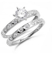 silver CZ wedding rings