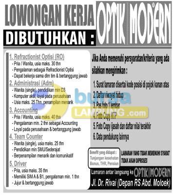 Lowongan Kerja Lampung OPTIK MODERN terbaru Desember 2014