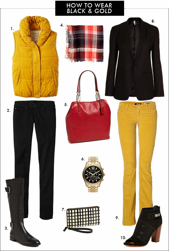 how to wear plaid, how to wear black and gold, tall boots, red handbags