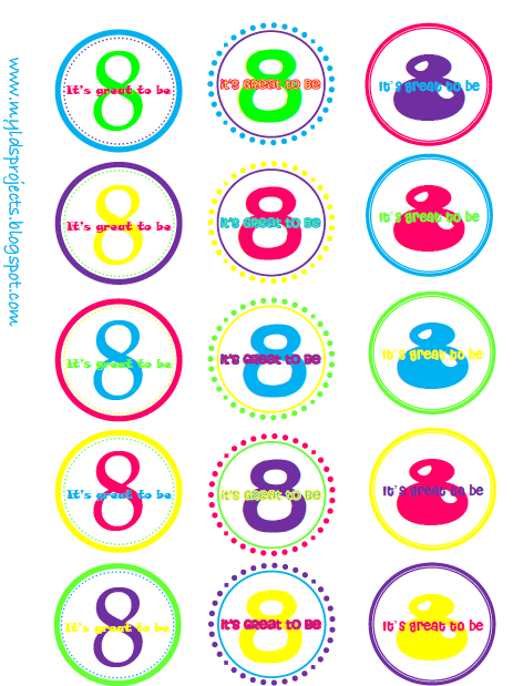 Download It's Great to be 8 Cupcake toppers here